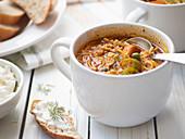 Okra noodle soup