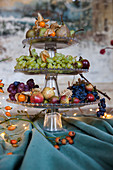 Winter fruits on a tiered stand