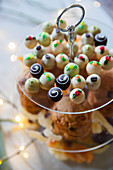 Christmas sweets on a glass stand