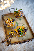 Winter fruit salads with orange syrup