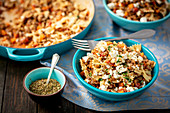Pasta with lentil bolognese and feta