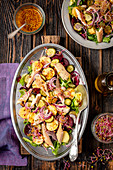 Potato, beetroot, cucumbers and smoked trout salad