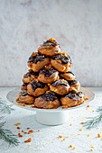 Chocolate and praline profiteroles tower