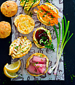 Cheddar scones with vegetables and roast beef