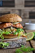 Burger with roast salmon