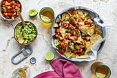 Vegan nachos with guacamole