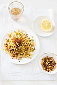 Linguini with crispy bits of bacon and pangritata