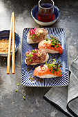 Surf and turf sushi with salmon and entrecôte