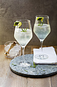 Aperitifs with white wine, tonic water and rosemary