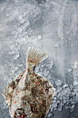 Flounder on ice cubes
