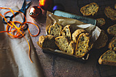 Savoury biscotti with cheese and walnuts for Christmas