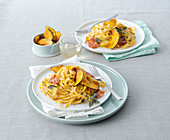 Linguine with pumpkin cream, crispy bacon, sage and roasted pumpkin slices
