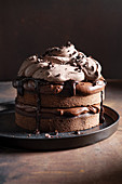 Walnut chocolate cake with black-tea ganache and chocolate cream