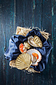Fresh oysters and scallops on a satin cloth in a box