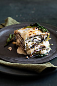Savoy cabbage lasagne with ham, cheese and Bechamel sauce