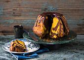 A marble pumpkin Bundt cake