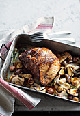 Autumnal roast beef with porcini mushrooms and chestnuts