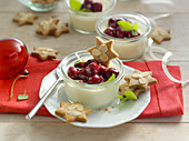 Gingerbread panna cotta with mulled wine cherries