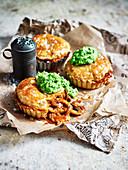Vegeterian Mushroom Pies with minted mushy peas