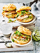 Wasabi fish burgers in cloud bread buns