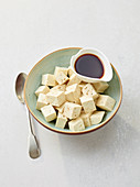 Diced tofu and soy sacue