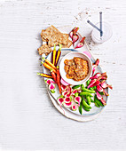 Raw vegetables with miso peanut butter dip