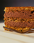 A mille feuille with chocolate cream