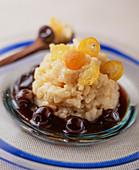 Rice pudding with cherries and kumquats