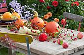 Herbstliche Tischdeko mit Kürbissen, Äpfeln, Hagebutten und Dahlienblüte