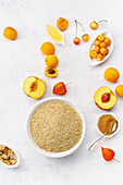Healthy breakfast with oats and apricots, honey and sugar