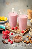 Raspberry and almond milk cocktail