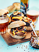 Slider burger with cheddar and onions
