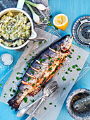 Grilled trout with leek mash