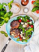 Patties with mozzarella tomato salad