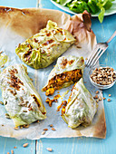 Cabbage rolls with girolles