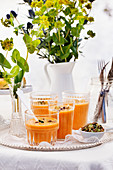 Cold carrot soup with pistachios