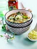 Vegetable soup with coriander leaves (Asia)