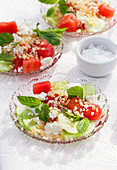 Watermelon cucumber salad with feta and mint