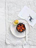 Raw sea urchin with lemon