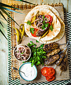 Turkish Adana kebabs with flatbread