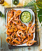 Grilled prawns with roasted gooseberry salsa
