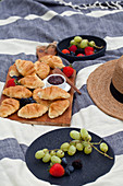Picnic with berries, grapes, croissants and raspberry jam on a blue and white striped blanket
