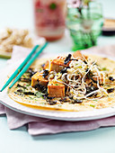 Asian pancakes with roasted tofu and alga