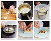 How to prepare cauliflower panna cotta with morels and pickle salad