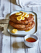 Vegan banana and buckwheat pancakes