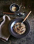 Simple buckwheat breakfast with dried fruits