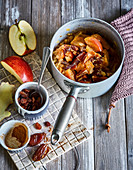 Ayurvedic apple compote with ginger, dates and raisins