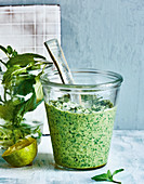 Chilled coconut and mint chutney with honey
