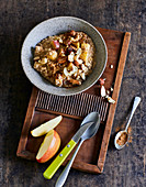 Ayurvedic oatmeal topped with nut mix
