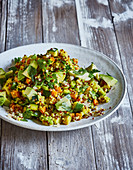 Ayurvedic quinoa salad with carrots, zucchini and celery